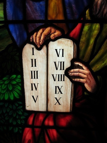 Stained Glass of the 10 Commandments